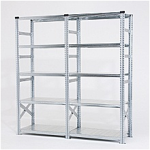Galvanised shelving unit double bay