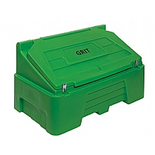 Green 400 Litre Grit Bin fitted with hasp & Staple