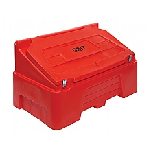 Red 400 litre grit bin fitted with hasp & staples