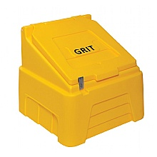 Yellow 200 litre grit bin with one hasp & staple