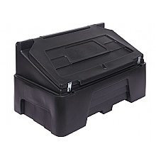 Black recycled 400 litre grit bin, hasp & staples